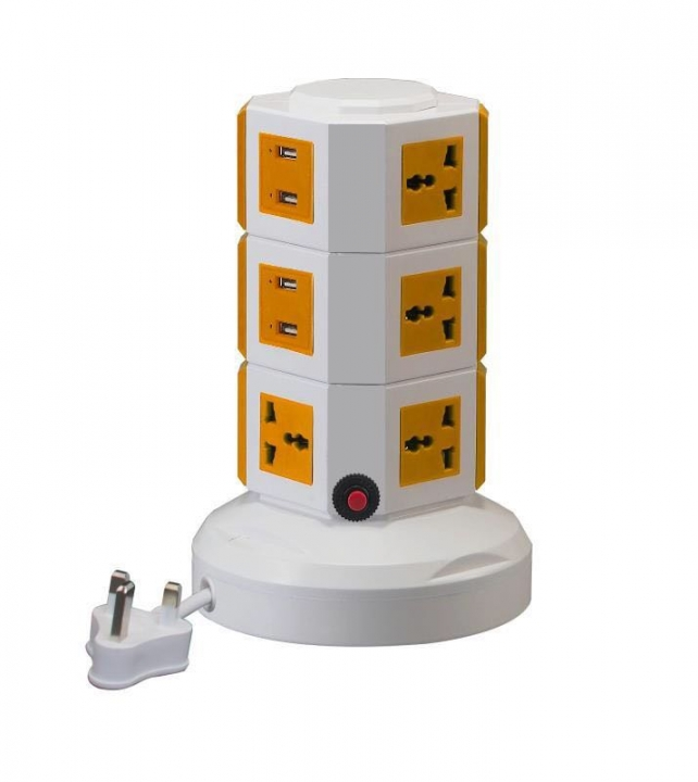 3m Wired Power Strip 10 Outlets 4 USB Socket Extension with 5V 2.1A Charger Tower UK Plug Orange