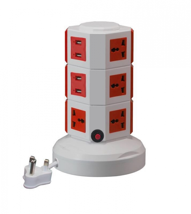 3m Wired Power Strip 10 Outlets 4 USB Socket Extender Extension with 5V 2.1A Charger Tower Plug Red