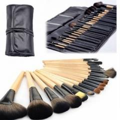 Professional 24pcs Makeup Brushes Set Kit with Black Case Burlywood Brown