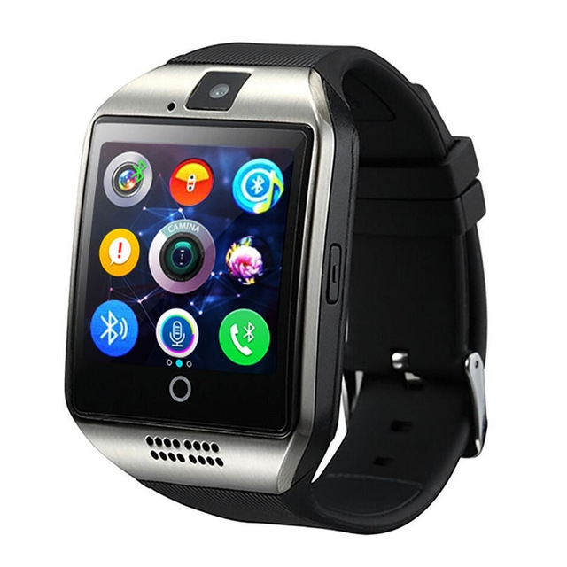 Q18 Passometer Smartwatch with Touch Screen camera TF card Bluetooth for Android IOS Phone black free size