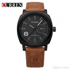 Luxury Brand Men's Luminous Leather Strap Wristwatch brown