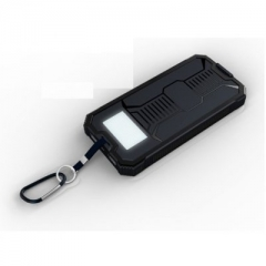Solar Power Bank 20000mAh Dual USB Output Built-in LED Torch Portable Charger - Black Black 20000mah