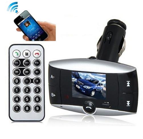 Car Kit FM Transmitter Bluetooth Modulator Wireless MP3 Player USB SD w/ Remote Black+Silver