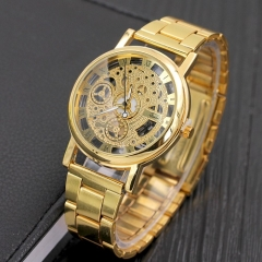 Holllow Stainless Quartz Watch for Men Stainless Steel Case Gold gold