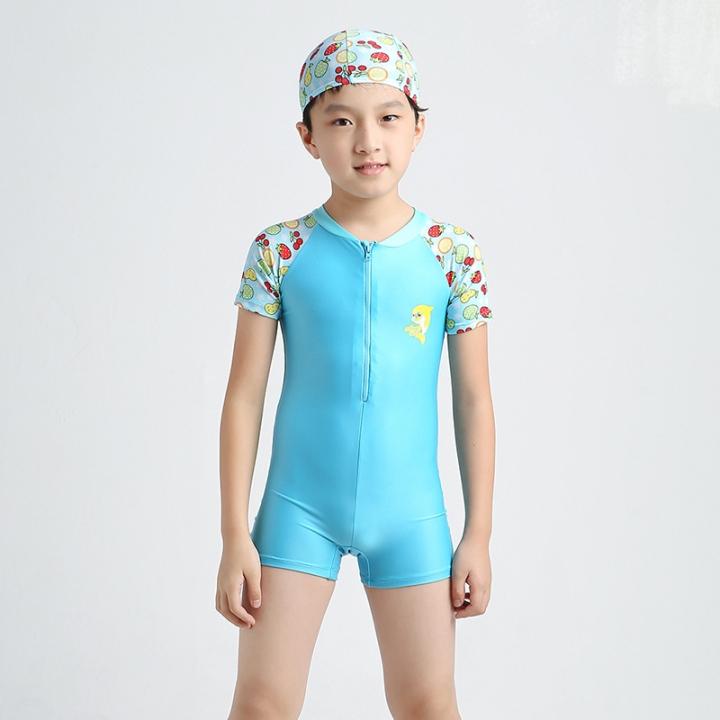 d4535cfa18 3-14Y Kids Boys One Piece Swimsuit Swimwear Short Sleeve Beach Wear ...