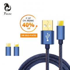Fauns For iPhone and Type-c Cable Fast Charger  1.2M Usb Data  Cable Adapter 2A  Phone Cable black for iphone