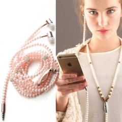 Fanus Fashion Rhinestone Jewelry Pearl Necklace Earphones With Mic Beads 3.5mm headset Audio Devices red