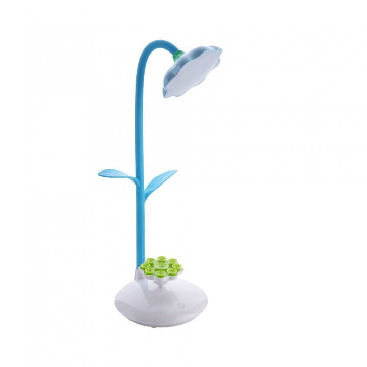 Kid Desk Lamp With USB Charging Port and Sucker Holder Touch Control Blue one size 3W