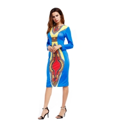 Autumn African Women's Dress Long Sleeve Round Neckline Blue S