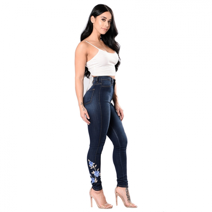 Women's Jeans Trousers With Holes Clothes For Large Hip One Color 3XL