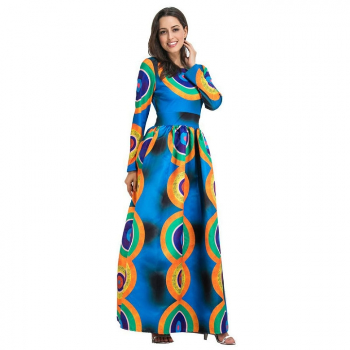 Autumn Winter Women's Long Print Dress with Long Sleeves one color 8