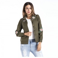 Autumn Winter Women's Coat Jacket Lapel Clothes with Embroidery Green Free Size