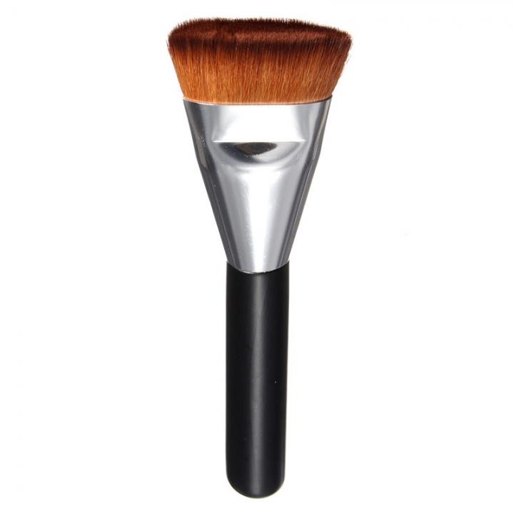 makeup powder brush women's beauty tool wood handle Silver Tube