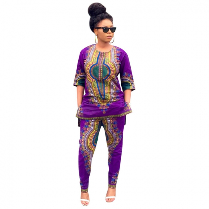 Women's Dashiki Loose Twinset Suits Separates Blouse Cotta Trousers One Color 8