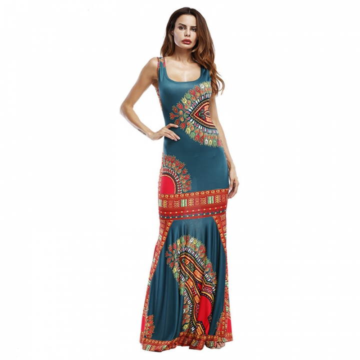 Women's Print Long Dress Without Sleeves Slim Clothes Green 8