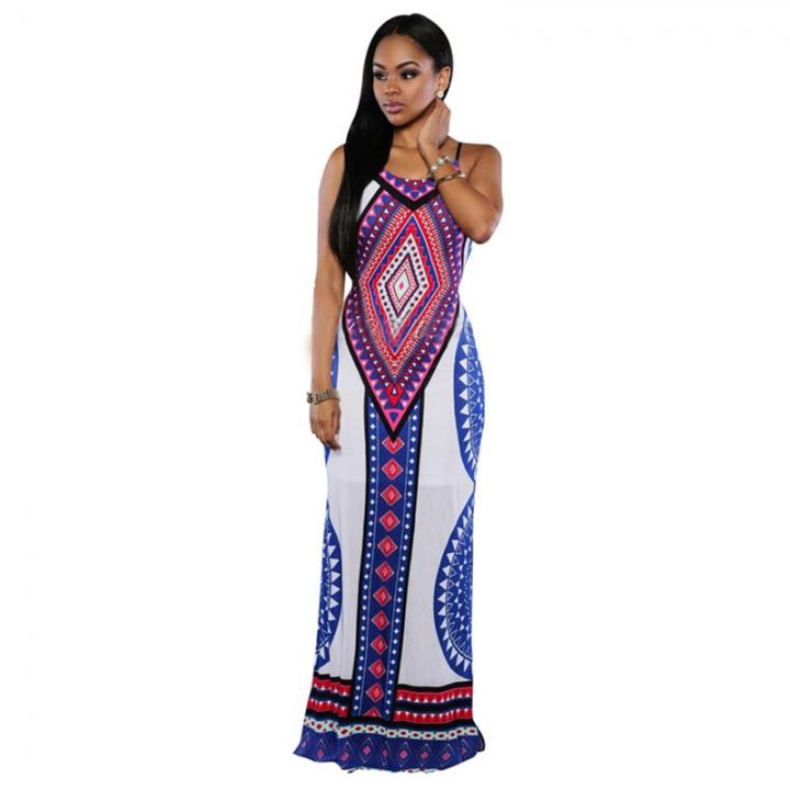 Women's Long Sleeveless Dress Print Clothes White 8