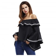 Summer Women's Off-shoulder T-shirt Full Flare Sleeves Slash Neck Clothes Black 8