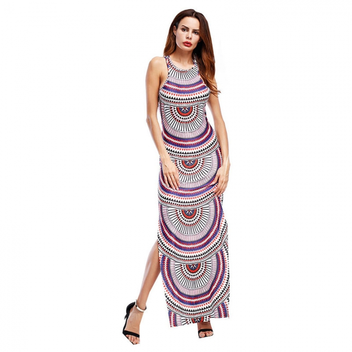 Women's Long Sleeveless Party Dress Print Clothes Ankle-length One Color 8
