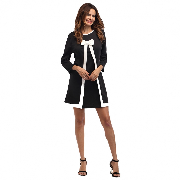 Autumn Winter A-line Short Dress Butterfly Three Quarter Sleeves Clothes One Color 8