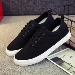 Hot sale Men summer shoes fashion black/white canvas shoes breathable lace-up men casual shoes fla
