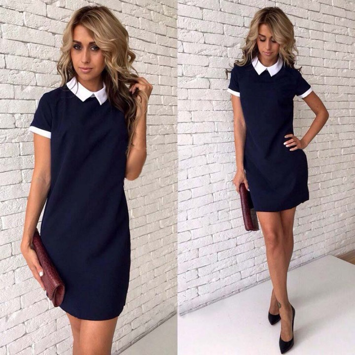 f25c43737711f New Women Summer OL Office work Dresses Bodycon Casual club Party Straight  Shirt dress Navy blue