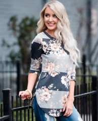 Long Sleeve T shirt 2018 Autumn 3/4 Sleeve Floral Print T-Shirts O-neck Casual Striped Tops Cotto