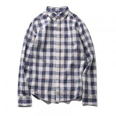 2018 Autumn Vintage Style Casual Shirt Men Clothing Long Sleeve Mens Dress Shirts Plaid 100% Cott
