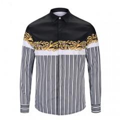 GIRL Brand shirt 2018 New Fashion Mens 3d Long sleeve shirt Medusa Gold Floral Print Men Luxury S
