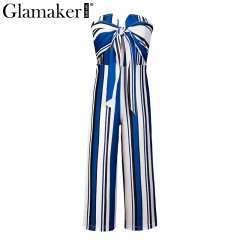 Striped bow bandage summer jumpsuits rompers Sexy loose backless overalls jumpsuit Women straples