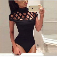 Out Sexy Bodycon Women Bodysuits 2018 New Summer Black Green Wine Red Rompers Ladies Short Sleeve