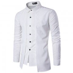 Brand 2018 Men Shirt Fake Two Doors Dress Shirt Long Sleeve Slim Fit Camisa Masculina Casual Male