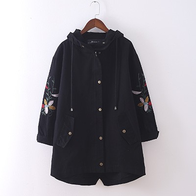 2018 Womens casual windbreaker trench plus size embroidery pockets irregular coat female autumn s