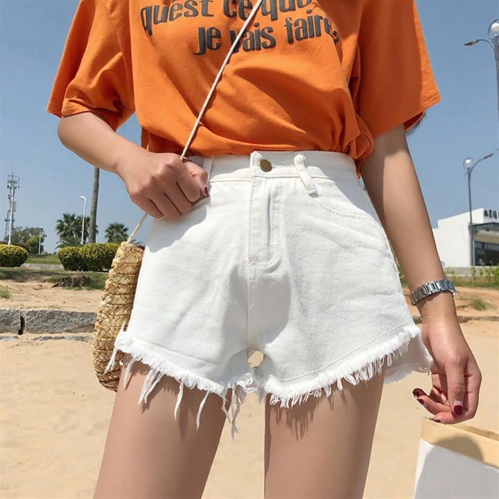 Summer Wind Female Blue High Waist Denim Shorts Women Worn Loose ripped hole fringe Jeans Shorts