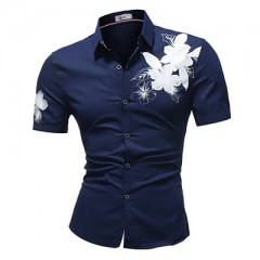 Shirt summer style Men's new short sleeve fashion shirt brand floral printing Slim Fit Male Shirt