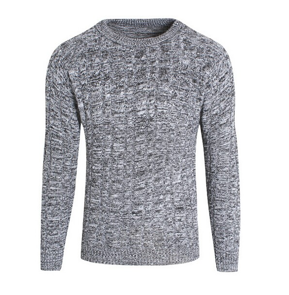 Mens Wool Blend Crew Neck Knitted Slim Pullovers Jumper Sweater Top Long Sleeve Fitness Casual s