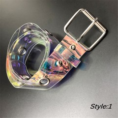 Fashion Transparent Rainbow Waistband For Women Belt Punk Clear Color Buckle Wide Waist Circle In