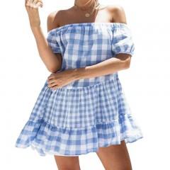 Summer Plaid Blue  Loose Dress Women Off Shoulder Beach Mini Vintage Dresses 2018 Casual Dress Ve