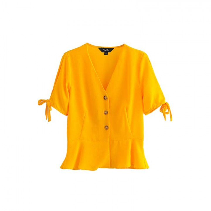 3ae29365f3d801 women sweet bow tie yellow blouse V neck short sleeve pleated shirts solid  female summer chic