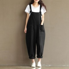 Fashion Women Girls Loose Solid Jumpsuit Strap Dungaree Harem Trousers Ladies Overall Pants Casua