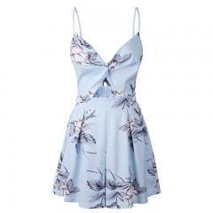 Boho Floral Print Rompers Women Party Jumpsuit Summer Sexy Backless Playsuit 2018 Beach Jumpsuits