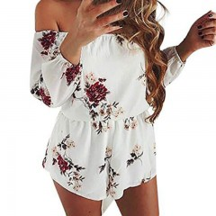 Printed Playsuits Sexy Slash Neck Off Shoulder Chiffon Beach Rompers Women Playsuit Summer Plus S