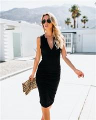 Women Sexy Midi Bodycon Dress V Neck Sleeveless Sheath Bandage Club Party Dresses Summer Office L