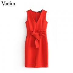 women elegant V neck red dress ruffled bow tie sashes sleeveless solid female office wear mini dr