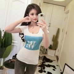 Summer Tight Low-cut Heart-shaped Sequins Tshirt Sexy U-Neck Plus Size T-shirt Korean Smile Lette