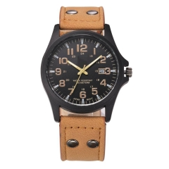 New Mens Fashion Sport Watches Men Military Leather High quality Quartz Wrist Watch brown color D