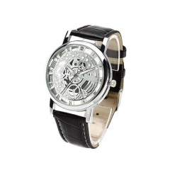 Unisex Automatic Hollow Out Mechanical Watch Leather Business Watch Presents 1