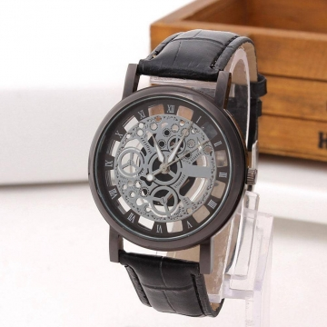Unisex Automatic Hollow Out Mechanical Watch Leather Business Watch Presents 3