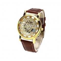 Unisex Automatic Hollow Out Mechanical Watch Leather Business Watch Presents 6