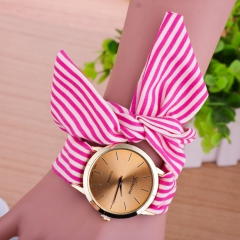 Women Geneva floral Cloth Band Quartz Analog Dress Belt Bracelet Wrist Watch rose red