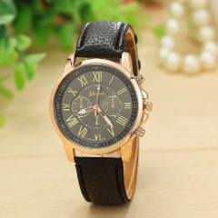 Geneva Roman Numerals Leather Quartz Watch Ladies Dress Wristwatch Relogio Feminino Clock black